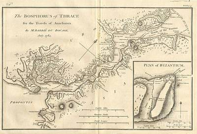Map Photograph - 1784 Bocage Map Of The Bosphorus And The City Of Byzantium  Istanbul  Constantinople by Paul Fearn