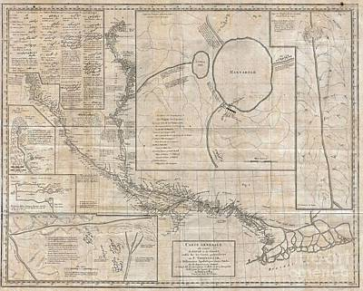 1784 Tiefenthaler Map Of The Ganges And Ghaghara Rivers India Print by Paul Fearn