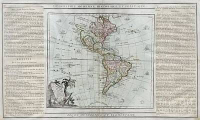 1786 Brion De La Tour Map Of South And North America Print by Paul Fearn