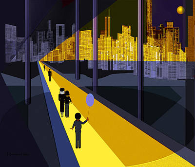Luminescent Digital Art - 179 - Nightwalking  To The Golden City   by Irmgard Schoendorf Welch