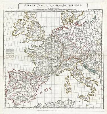 1794 Anville Map Of Europe In Late Roman Times Print by Paul Fearn