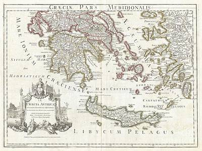 1794 Delisle Map Of Southern Ancient Greece Greeks Isles And Crete Print by Paul Fearn