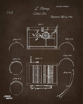 1794 Eli Whitney Cotton Gin Patent Espresso Print by Nikki Marie Smith