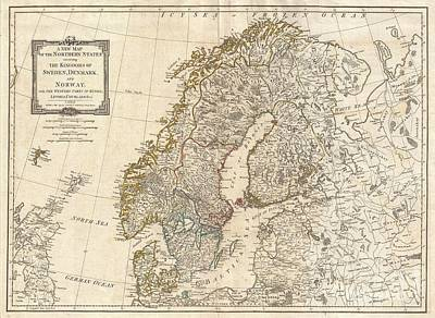 Wall Chart Photograph - 1794 Laurie And Whittle Map Of Norway Sweden Denmark And Finland by Paul Fearn
