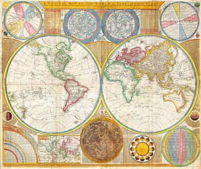 Caribbean Sea Painting - 1794 Samuel Dunn Wall Map Of The World In Hemispheres by Samuel Dunn