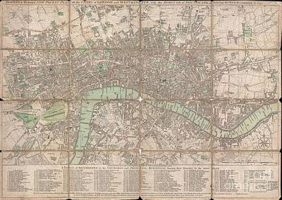 Wall Chart Photograph - 1795 Bowles Pocket Map Of London by Paul Fearn
