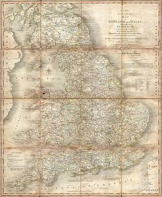 1796 Cary Folding Case Map Of England And Wales Print by Paul Fearn