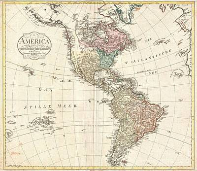 1796 Mannert Map Of North America And South America Print by Paul Fearn