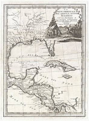 Wall Chart Photograph - 1798 Cassini Map Of Florida Louisiana Cuba And Central America by Paul Fearn