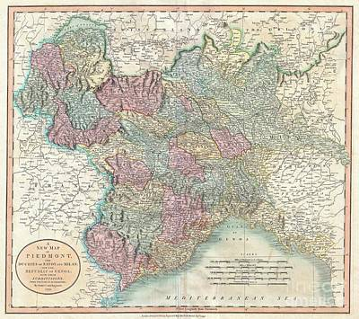 Wall Chart Photograph - 1799 Cary Map Of Piedmont Italy  Milan Genoa  by Paul Fearn