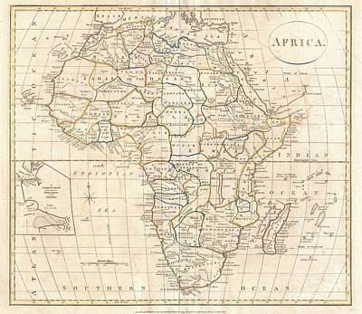 1799 Clement Cruttwell Map Of Africa  Print by Paul Fearn