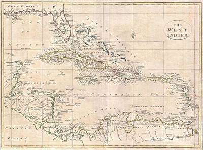 Wall Chart Photograph - 1799 Clement Cruttwell Map Of West Indies by Paul Fearn