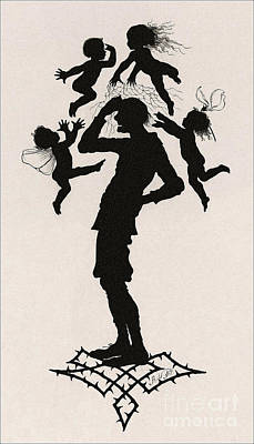 A Silhouette Illustration For Midsummer Night Dream By Shakespea Print by Indian Summer