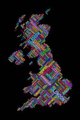 Wales Digital Art - Great Britain Uk City Text Map by Michael Tompsett
