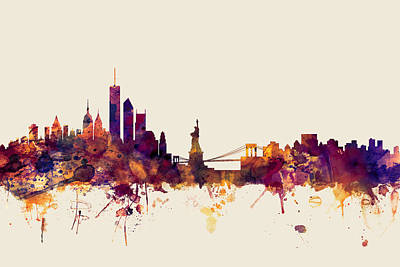 Big Cities Digital Art - New York Skyline by Michael Tompsett
