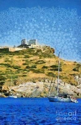 Boat Painting - Poseidon Temple by George Atsametakis