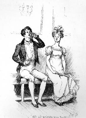 Edition Drawing - Scene From Pride And Prejudice By Jane Austen by Hugh Thomson