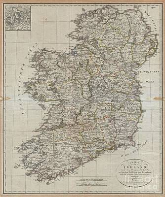 Wall Chart Photograph - 1804 Jeffreys And Kitchin Map Of Ireland by Paul Fearn