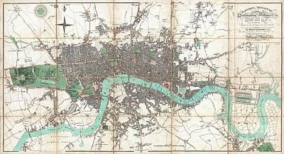Wall Chart Photograph - 1806 Mogg Pocket Or Case Map Of London by Paul Fearn
