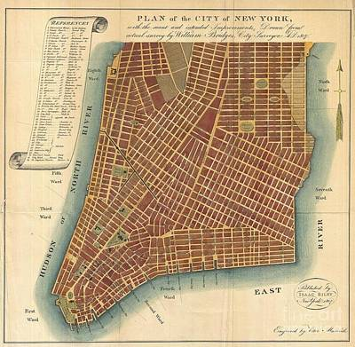 1807 Bridges Map Of New York City Print by Paul Fearn