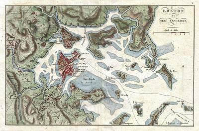 Must Art Photograph - 1807 Buache Map Of Boston Massachusetts by Paul Fearn