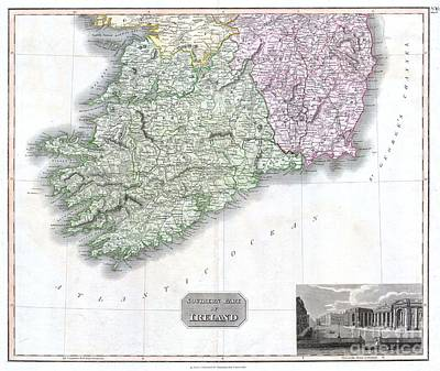 1814 Thomson Map Of Southern Ireland Print by Paul Fearn