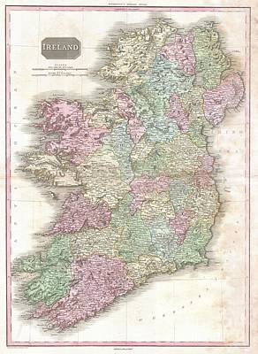 Wall Chart Photograph - 1818 Pinkerton Map Of Ireland  by Paul Fearn