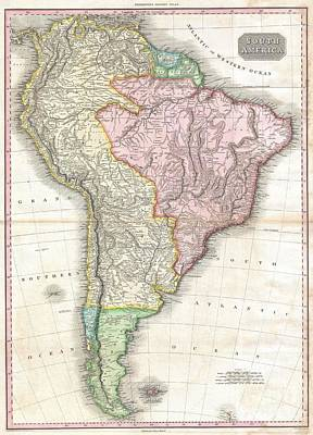 1818 Pinkerton Map Of South America Print by Paul Fearn