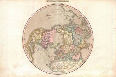 1818 Pinkerton Map Of The Northern Hemisphere  Print by Paul Fearn