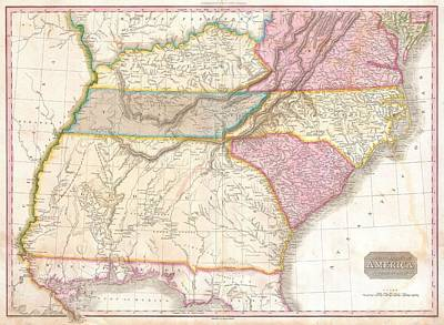 1818 Pinkerton Map Of The Southeastern United States Print by Paul Fearn