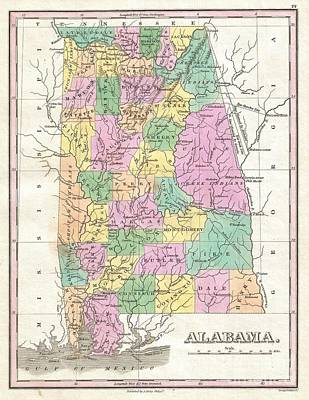 Wall Chart Photograph - 1827 Finley Map Of Alabama by Paul Fearn