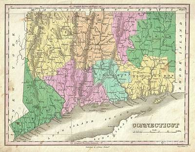 1827 Finley Map Of Connecticut Print by Paul Fearn