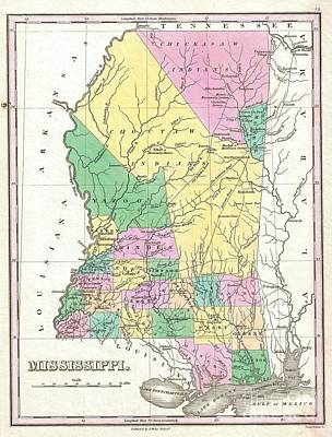 Wall Chart Photograph - 1827 Finley Map Of Mississippi by Paul Fearn