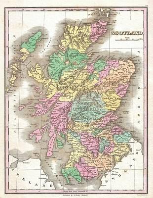 1827 Finley Map Of Scotland Print by Paul Fearn