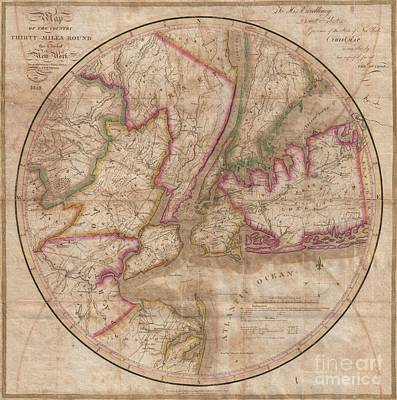 1828 Eddy Map Of New York City And 30 Miles Around Print by Paul Fearn