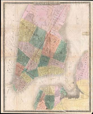 1835 David Burr Map Of New York City Print by Paul Fearn