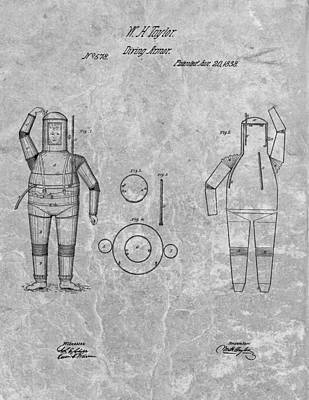 Us Navy Drawing - 1838 Diving Armor Patent Charcoal by Dan Sproul