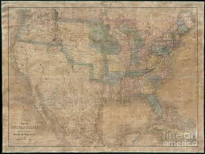 1839 Burr Wall Map Of The United States  Print by Paul Fearn