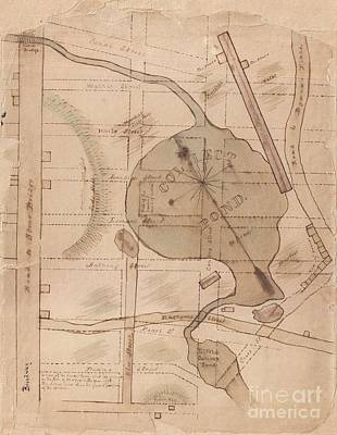 1840 Manuscript Map Of The Collect Pond And Five Points New York City Print by Paul Fearn