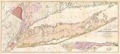 1842 Mather Map Of Long Island New York Print by Paul Fearn
