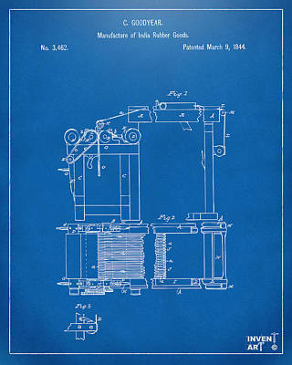 1844 Charles Goodyear India Rubber Goods Patent Blueprint Print by Nikki Marie Smith