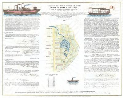 1846 Broadside Of The Collect Pond New York And Steam Boat  Five Points   Print by Paul Fearn
