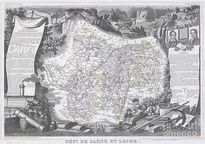 1847 Levasseur Map Of Saone Et Loire France Print by Paul Fearn