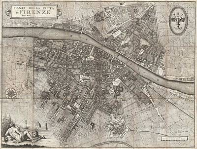 1847 Molini Pocket Map Of Florence Print by Paul Fearn