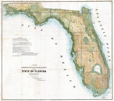 Wall Chart Photograph - 1848 Land Survey Map Of Florida by Paul Fearn