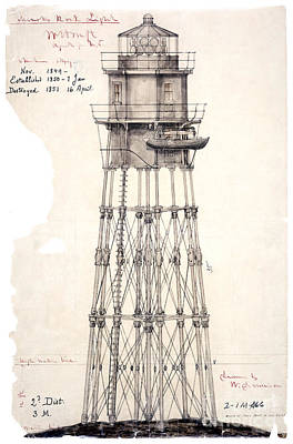 Ledge Drawing - 1849 Minot's Ledge Lighthouse  by Jon Neidert