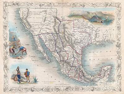 Wall Chart Photograph - 1851 Tallis Map Of Mexico Texas And California  by Paul Fearn