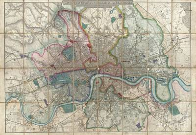 1852 Davies Case Map Or Pocket Map Of London Print by Paul Fearn