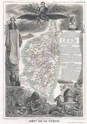 1852 Levasseur Map Of Corsica  Print by Paul Fearn