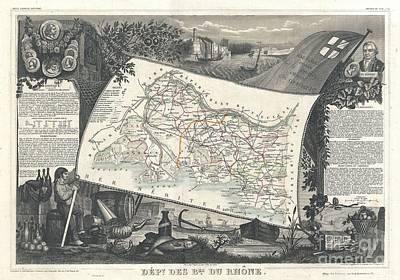 1852 Levasseur Map Of The Department Bes Du Rhone Print by Paul Fearn